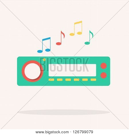 Car radio. Isolated icon. Vector illustration. Flat design. Auto sound