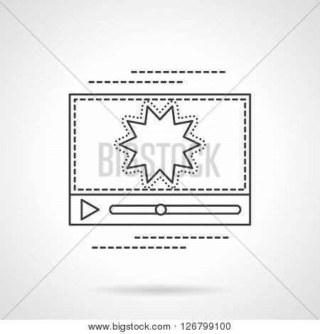 Sign for video online, media player, v-blog. Flash video streaming. Flat line style vector icon. Single design element for website, business.
