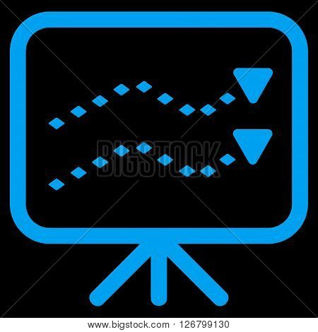 Dotted Trends Board vector toolbar icon. Style is flat icon symbol, blue color, black background, rhombus dots.