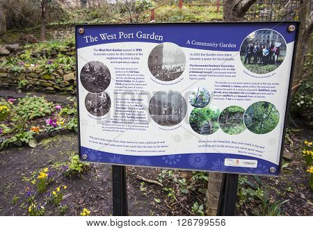 EDINBURGH SCOTLAND - MARCH 10TH 2016: An information sign at the entrance of West Port Garden in the historic city of Edinburgh on 10th March 2016.