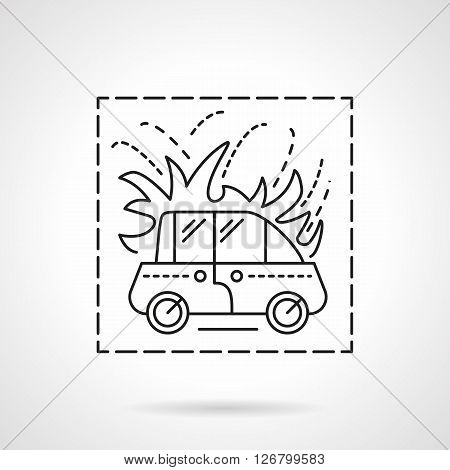 Automobile insurance cases. Car in fire symbol. Road disasters. Flat line style vector icon. Single design element for website, business.