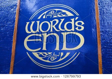 EDINBURGH SCOTLAND - MARCH 12TH 2016: The sign for the Worlds End public house on the Royal Mile in Edinburgh on 12th March 2016.