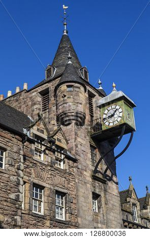 Looking up at the tower and spire of Canongate Tolbooth situated along the Royal Mile in Edinburgh Scotland.