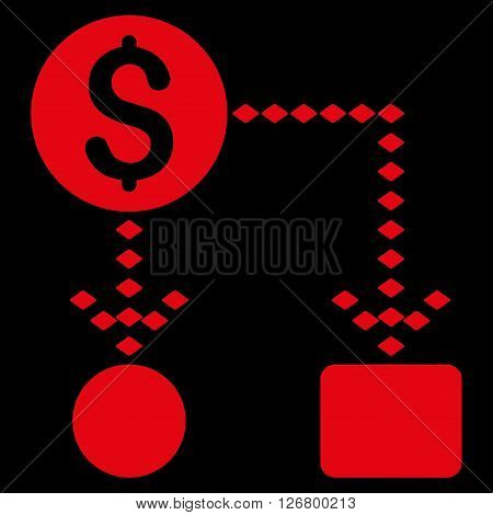 Cashflow Scheme vector toolbar icon. Style is flat icon symbol, red color, black background, rhombus dots.