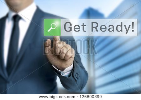 get ready browser is operated by businessman.