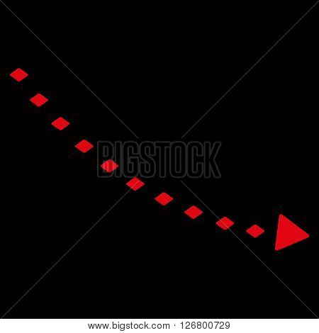 Dotted Decline Trend vector toolbar icon. Style is flat icon symbol, red color, black background, rhombus dots.