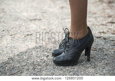 Sexy Legs Black High Heels Walking In City Street