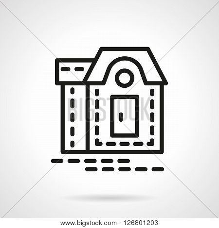 Simple sign of mansion. Facade of residential building. Real estate, rent of property symbol. Simple black line vector icon. Single element for web design, mobile app.