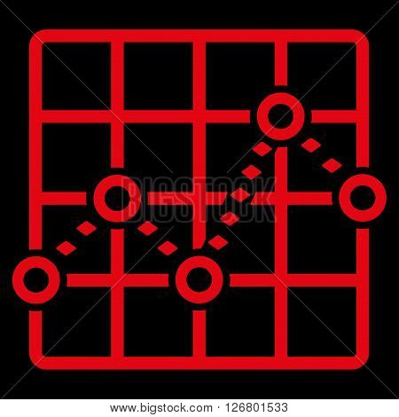 Dotted Line Grid Plot vector toolbar icon. Style is flat icon symbol, red color, black background, rhombus dots.
