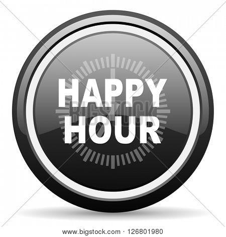 happy hour black circle glossy web icon
