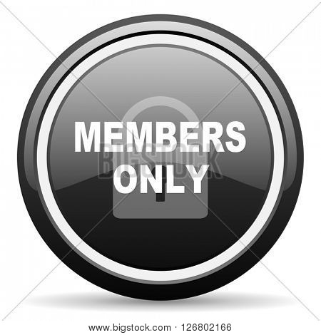 members only black circle glossy web icon