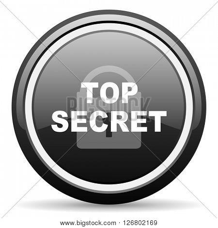 top seret black circle glossy web icon
