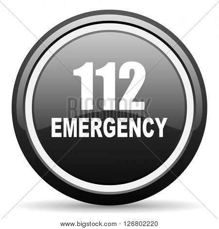 number emergency 112 black circle glossy web icon