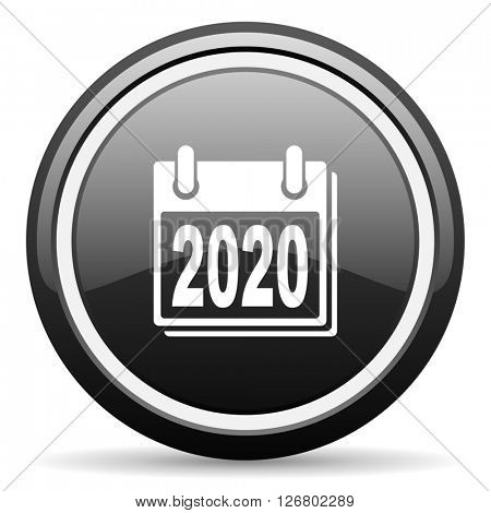 new year 2020 black circle glossy web icon