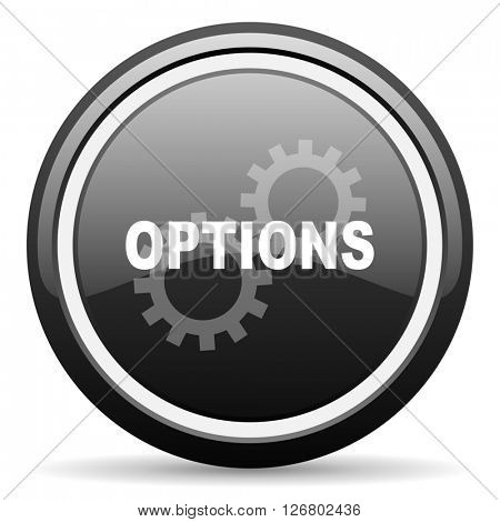 options black circle glossy web icon