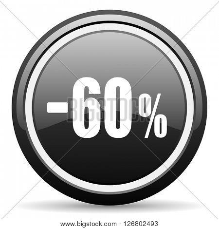 60 percent sale retail black circle glossy web icon
