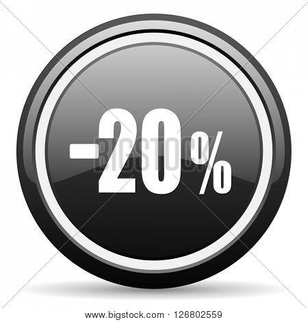 20 percent sale retail black circle glossy web icon