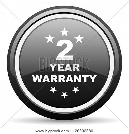 warranty guarantee 2 year black circle glossy web icon