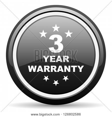 warranty guarantee 3 year black circle glossy web icon