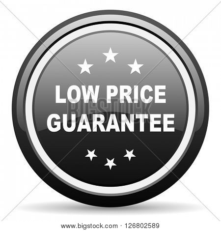 low price guarantee black circle glossy web icon