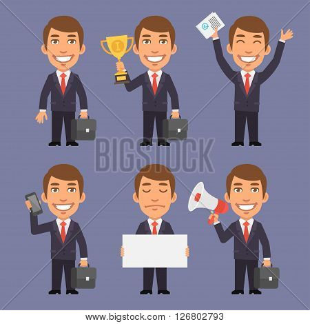 Vector Illustration, Businessman in Suit Holds Suitcase, Holds Cup, Holds Phone, Holds White Paper, Holds Megaphone, Upset, Format EPS 8