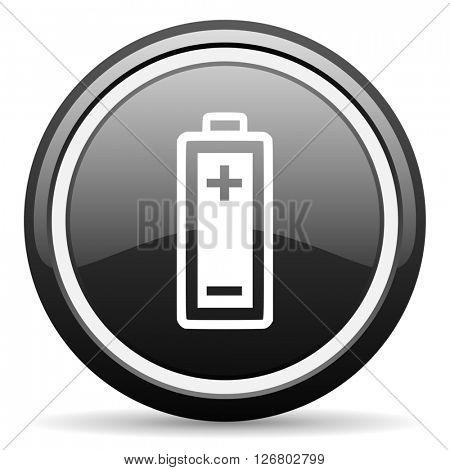 battery black circle glossy web icon