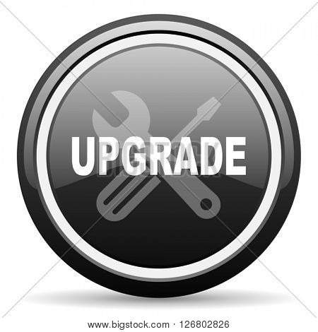 upgrade black circle glossy web icon