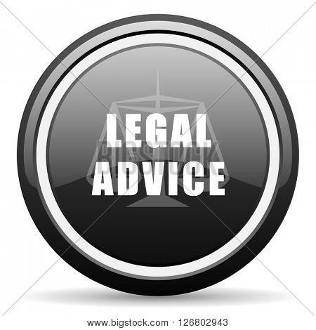 legal advice black circle glossy web icon