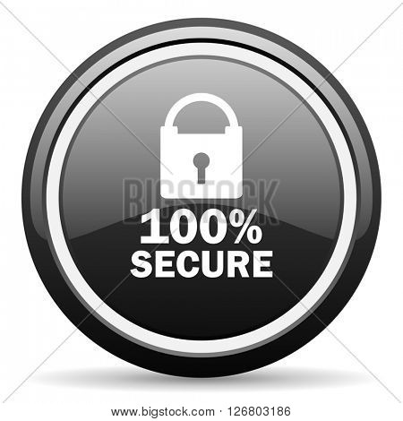 secure black circle glossy web icon