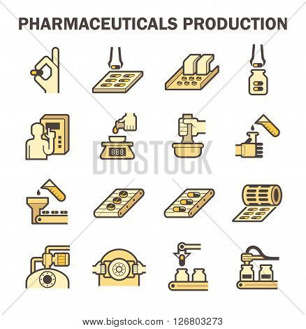 Pharmaceutical production vector icon sets design on white.
