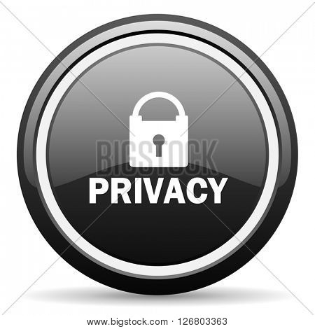 privacy black circle glossy web icon