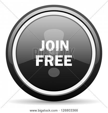 join free black circle glossy web icon