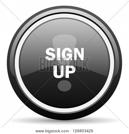 sign up black circle glossy web icon