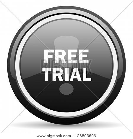 free trial black circle glossy web icon