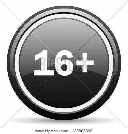 adults black circle glossy web icon