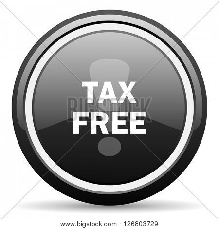 tax free black circle glossy web icon