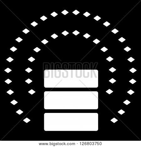 Database Sphere Shield vector toolbar icon. Style is flat icon symbol, white color, black background, rhombus dots.