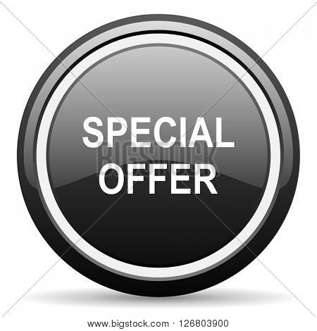 special offer black circle glossy web icon