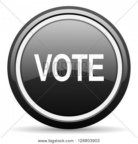 vote black circle glossy web icon