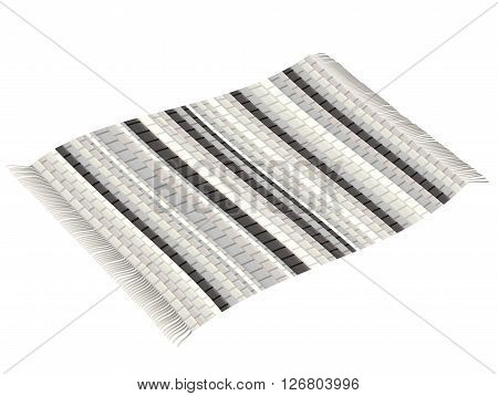 Vintage rag rug, black and white, flying like a magic carpet. Isolated vector illustration on white background.