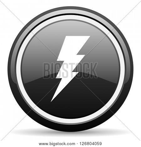 bolt black circle glossy web icon
