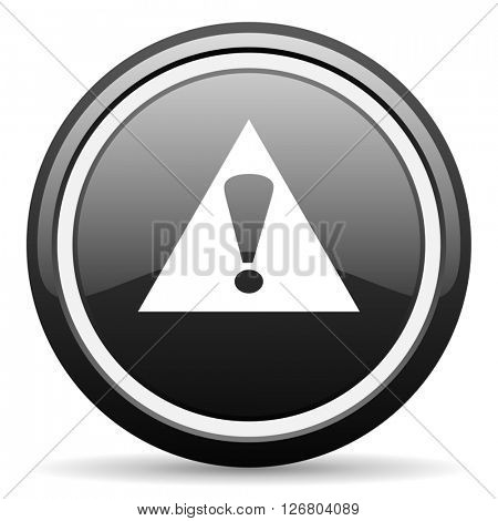 exclamation sign black circle glossy web icon