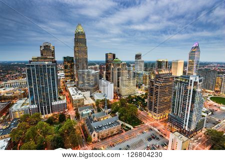 Charlotte, North Carolina, USA uptown cityscape.