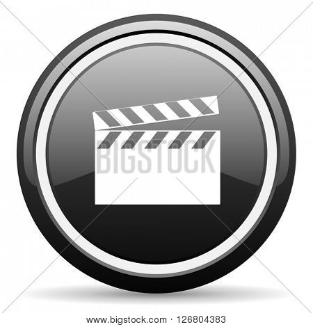 video black circle glossy web icon