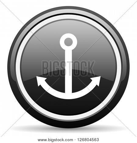 anchor black circle glossy web icon