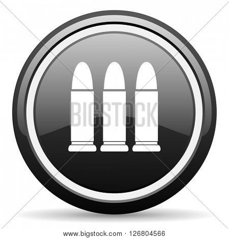 ammunition black circle glossy web icon