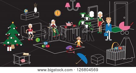 linear illustration on a black background family in the room with the Christmas tree