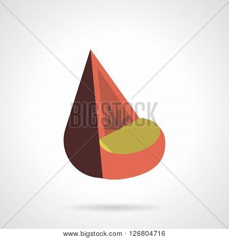 Brown and red cone-shaped chair with yellow seat. Upholstered furniture for home and office, hotel interior. Flat color style vector icon. Web design element for site, mobile and business.