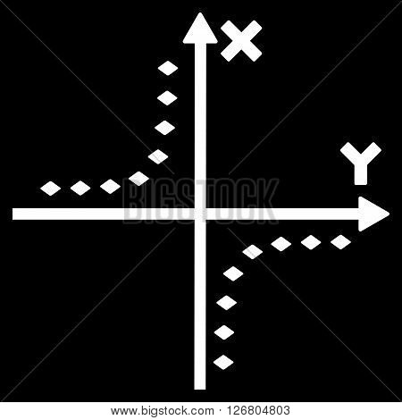 Dotted Hyperbola Plot vector toolbar icon. Style is flat icon symbol, white color, black background, rhombus dots.