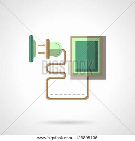 Green charger with electric plug on a winding cable and socket. Eco battery charging. Flat color style vector icon. Web design element for site, mobile and business.